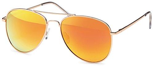 Sonnenbrille verspiegelt Pilotenbrille mit farbigen Glas und 'Feinzwirn' Brillenbeutel aus...