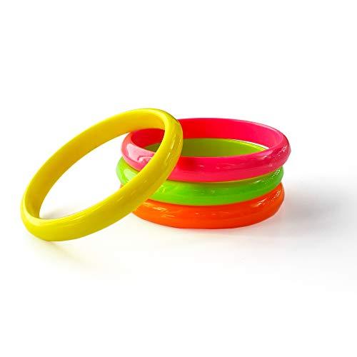 Eventlights Neon UV Armreifen - 12 Stück Set - grün, pink, gelb, orange - Leuchten im Schwarzlicht - UV aktiv