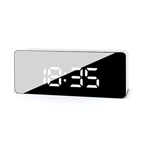 FiBiSonic LED Despertador Digital Espejo con Función de Snooze y Temperature Reloj de Mesa Portátil de Brillo Ajustable(Rectángulo)