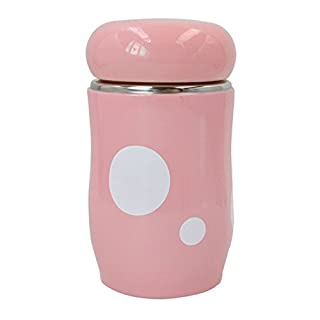 AiSi 300ml Stainless Steel Cute Cartoon Thermos Travel Office Home Water Vacuum Cup Bottle-Pink