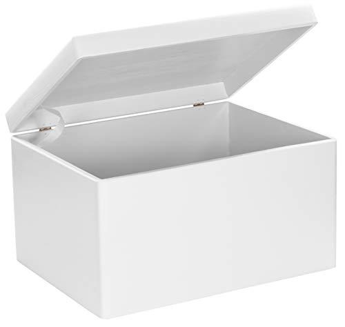 LAUBLUST Große Holzkiste mit Deckel - 40x30x24cm, Weiß, FSC® | Allzweck-Kiste aus Holz - Aufbewahrungskiste | Geschenk-Verpackung | Deko-Kasten zum Basteln | Spielzeug-Truhe | Erinnerungsbox -