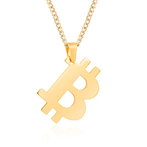 Price comparison product image Bitcoin Necklace with 20 Inch Chain Rust-Free Stainless Steel Gold Plated Pendant Jewelry for Men and Women - Unique Psychical Collectible Digital Currency Fashion | Gift Pouch + 1 FREE Coin Included