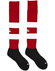 Canterbury Hooped - Calcetines de rugby, color blanco negro y rojo rojo rosso Talla:small