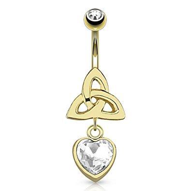 L'oro di cristallo libero 14kt placcato Celtic Knot Triquetra e cuore di cristallo della barra della pancia Piercing Spessore: 1.6mm Lunghezza: 10mm Materiale: acciaio