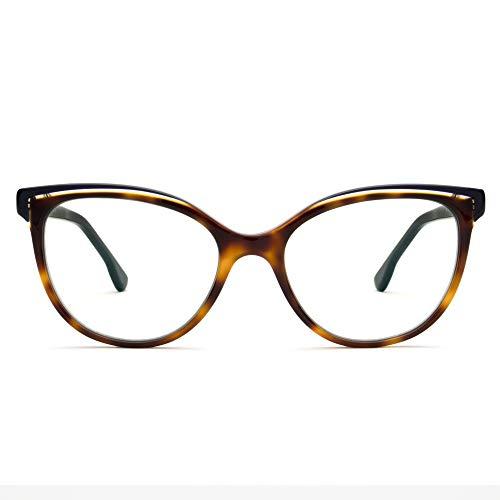Don Rebel Premium Blue Light Blocking Brille - handgefertigter Acetat-Rahmen mit CR39 kratzfesten blauen Lichtgläsern, (Tortoise + Navy), Medium