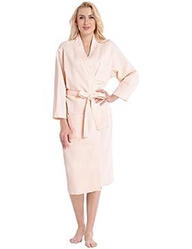 Aibrou Bademantel Damen Waffelpique Morgenmantel Baumwolle Schlafanzug Nachthemd V Kragen Waffel Typ Saunamantel...