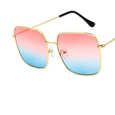 LUXIAOYU Net red Square Metall Sonnenbrille koreanisch Retro Polygon Sonnenbrille Trend Big Box dünne Gesicht Sonnenbrille Leder Box verpackung geben Geschenke,fonredunderblue
