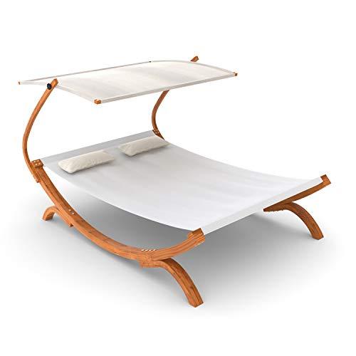 Ampel 24 50117 Doppel-Sonnenliege Panama mit Dach creme weiß, Gartenliege mit Holzgestell wetterfest, Sonnendach verstellbar, Doppelliege mit Kissen -