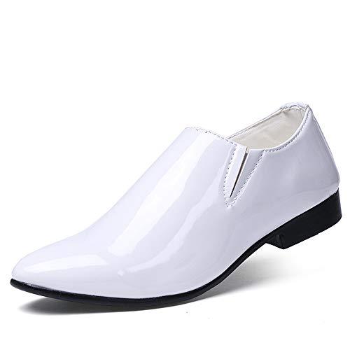 HILOTU Geschäfts-Oxford-zufällige Persönlichkeit der Mode-Männer Geschäfts-Show-weg von der Farbe spitze Patent-Lack-formalen Schuhen (Color : Weiß, Größe : 41 ()