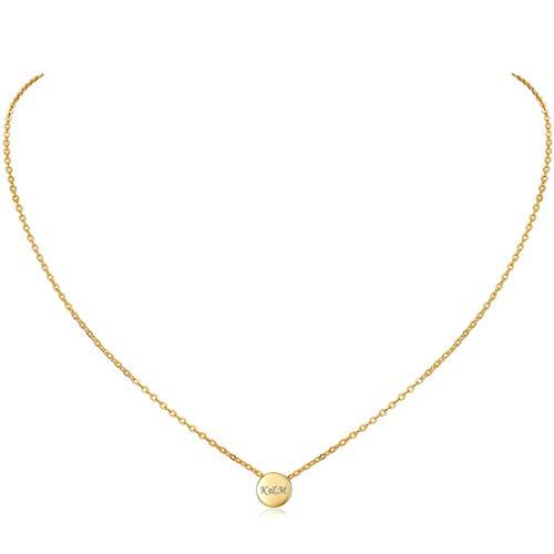 Individuelle Beschriftung Herzkette Halskette mit Runde Anhänger für Damen in 925 Sterling Silber vergoldet oder platiniert, Goldkette für Frauen Modell Runde, Kette klein, Kettchen 40+5cm