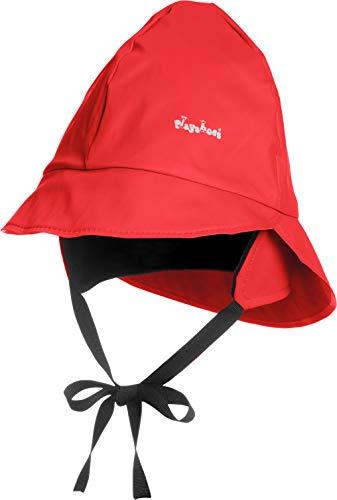 Playshoes Baby Regen-Mütze, wind- und wasserdichte Unisex-Mütze für Jungen und Mädchen mit Fleecefutter, mit Playshoes-Motiv, Rot (8 rot ), 53 cm