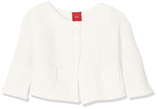 s.Oliver Baby-Mädchen 65.908.64.8938 Strickjacke, Weiß (White 0210), (Herstellergröße: 68) - Kinder Sweatshirt Strickjacke