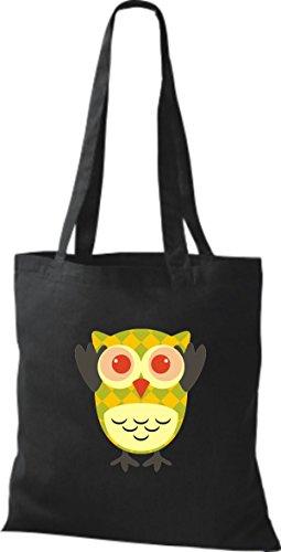 ShirtInStyle Jute Stoffbeutel Bunte Eule niedliche Tragetasche mit Punkte Owl Retro diverse Farbe, schwarz schwarz