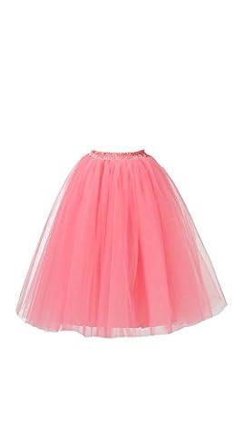 Honeystore Damen's Lang Ballet Petticoat Abschlussball Party Zubehör Tutu Unterkleid Rock Wassermelone (Einfache Selbst Gemachte Kostüme Für Halloween)