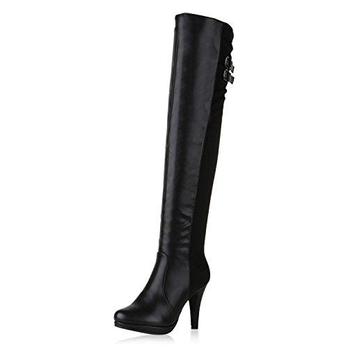 Damen Stiefel Sexy Overknees High Heels Plateau Stiletto Schuhe Schwarz Glatt 39 Jennika (Plateau Stiletto-heel Overknee-boot)