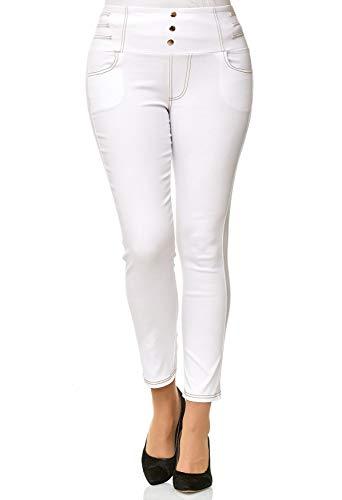 ArizonaShopping Damen Treggings High Waist Röhre Corsagen Jeans Hose Übergröße Plus Size D2490, Farben:Weiß, Größe Damen:5XL/6XL (Plus Jeans-corsagen Size)