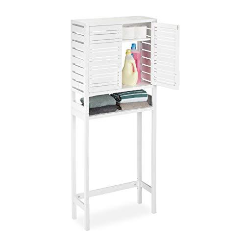 #Relaxdays Waschmaschinenschrank Bambus, Überbauschrank, Toilettenregal, WC, mit Schranktüren, HBT 165 x 66 x 26 cm, weiß#