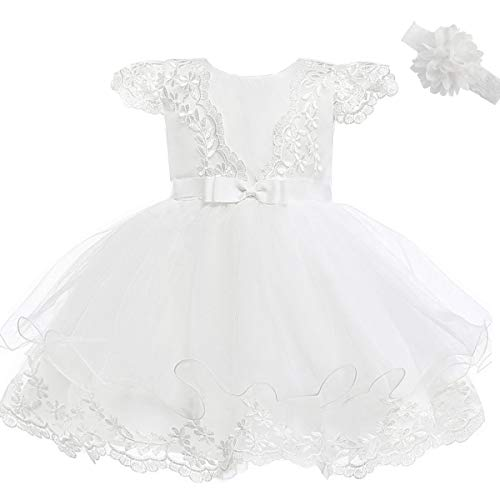 mädchen Prinzessin Hochzeit Spitze Stickerei Blume Kleid ()