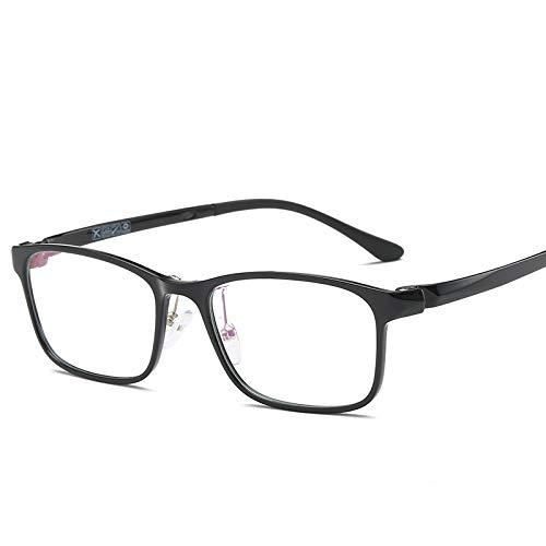 YMTP Männer Full Rim Brillen Rahmen Für Männer Gläser Frau Leichte Quadratische Gläser Für Verschreibungspflichtige Myopie Linsen, Helle Schwarz - Rim Weiß Glas