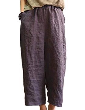 Mujeres Pantalones De Pierna Ancha Loose Fit Pantalones De Algodón Y Lino