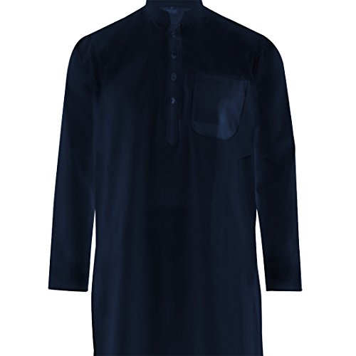 Maharanis Maharanis Kurta Pajama Dunkelblau mit weißer Hose Baumwolle M- Blau
