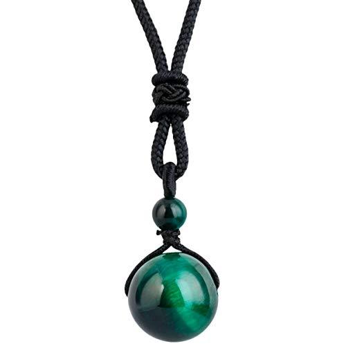 KYEYGWO Handgefertigt Natürlicher Edelstein Ball Einstellbar Segen Anhänger Halsketten für Damen und Herren - Grüner Tigerauge Stein