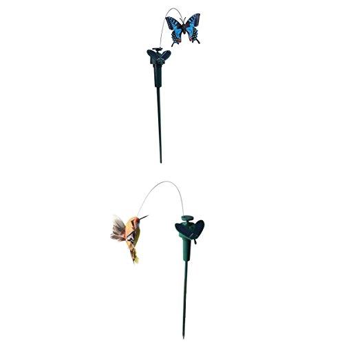 SM SunniMix 2 Stück Tanzender Solar Schmetterling Kolibri Gartendstecker der Schöne Hingucker im Garten -