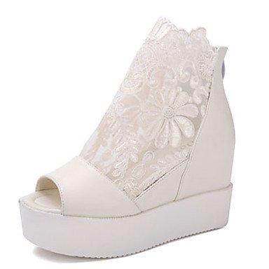 LvYuan Da donna-Sandali-Casual-Altro-Zeppa-PU (Poliuretano)-Nero Bianco Argento White