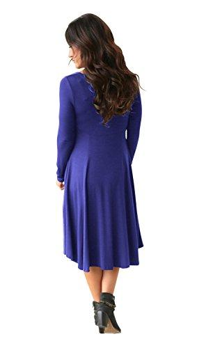 a Maniche Lunghe Fondo Irregolare Fondo Asimmetrico in cotone Midi Longuette Babydoll svasato a trapezioe di maternità T-Shirt Maglietta Vestito Abito Blu