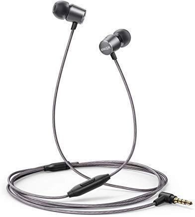 Anker Kopfhörer SoundBuds Verve in-Ear Kopfhörer Kabelgebunden mit Mic/Bass/physikalischer Geräuschreduzierung/3,5mm Klinkenbuchse für iPhone/iPad/Samsung Smartphones, Tablets, PC usw.(Grau) Iphone Mobile Headset