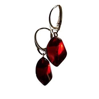 Dunkelbraune Rote Kirsche Baltischer Bernstein Sterling Silber Ohrringe