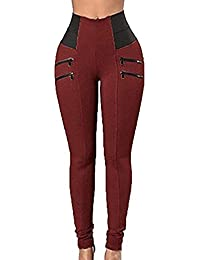 36a7c87162 Huixin Pantalon Stretch Taille Haute pour Pantalon Young Styles Maigre  Femmes Leggings Tregging Stretch Slimfit en Noir Gris Rouge…