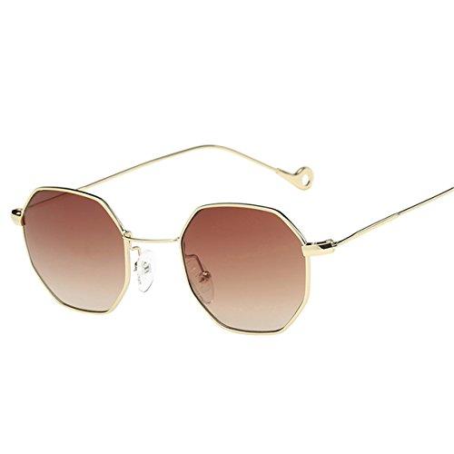 Kafe Sonnenbrillen , Loveso Unisex Beliebte Klassische Unregelmäßige Octagon Metallrahmen Sonnenbrille (10 Farben zu wählen) (Kaffee)