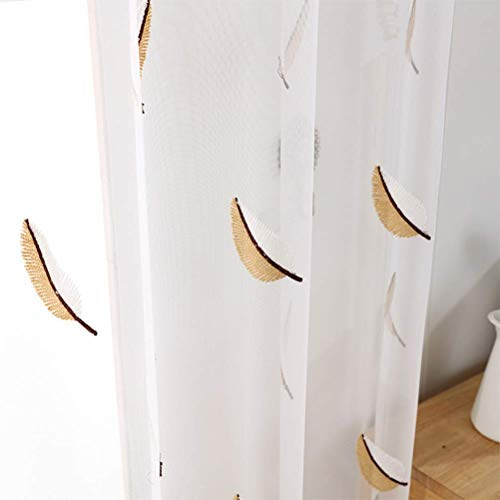 Blanc Brodé À Œillets Rideaux Voilage Pourle Salon Rideau De Rideau En Tissu De Tulle Pour Enfant En Chambre Salon 150 * 280Cm,Yellow,300 * 280