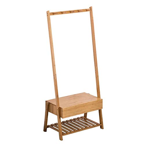 Garderobenständer Bambus-Holz-Mantelschuh-Hutständer Mit 5 Kleiderhaken Und Schublade, 2-Tier-Schuhablage Und Sitzgelegenheiten