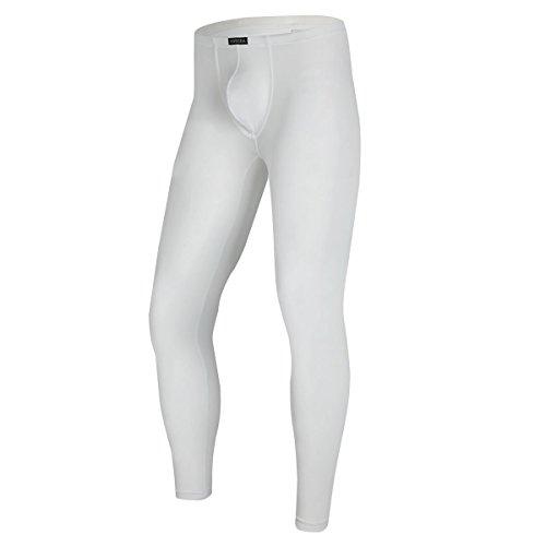 Herren lange Unterhosen mit Weichbund transparent Hose Unterwsche Strumpfhose Leggings, Wei, XL