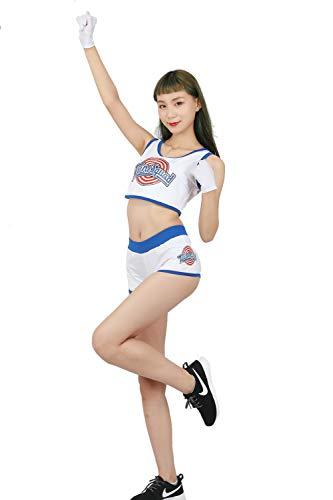 Anime Bunny Kostüm - Mesky Cheerleader Kostüm Damen und Mädchen Cheerleader-Uniform 3er Set, aus Polyesterfasern Handschuhe+ Weste+Shorts Anime Cosplay Zubehör Lola Bunny Costume