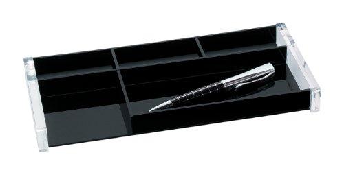 Wedo 601601 Stifteschale (Acryl Exclusiv) glasklar/schwarz - Klick Schreibtisch