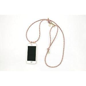 iPhone 6 Plus Hülle zum umhängen mit geflochtener Lederkordel in rosé
