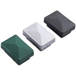 5 x Silberne Pfosten-kappe / Pfostenabdeckung aus Kunststoff für Metallpfosten / Pfosten für Doppelstab-Zaun im Maß 6 x 4 cm