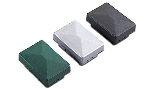 10 x Anthrazite Pfosten-kappe / Pfostenabdeckung aus Kunststoff für Metallpfosten / Pfosten für Doppelstab-Zaun im Maß 6 x 4 cm
