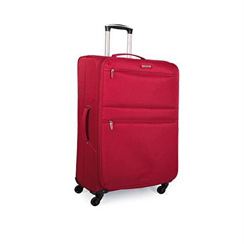 ITACA - I52750 Maleta Trolley 50cm Cabina poliéster. Equipaje de Mano. Semirígida y Ligera. Mango telescópico, 2 Asas 4 Ruedas. Ideal vuelos Low Cost Ryanair Vueling, Color Rojo