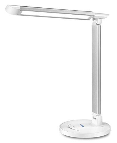 Lámpara Escritorio LED Regulable, Ebyphan Lámparas de Mesa Oficina, Lámpara de Lectura con Puerto USB (7 Niveles de Brillo, 5 Modos de Color, Control Táctil, 12W)