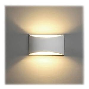Wandleuchte LED Innen 7W Wandlampe Weiß Gipsleuchte Modernes Design Wandlicht Up und Down Spotlicht Warmweiß für…
