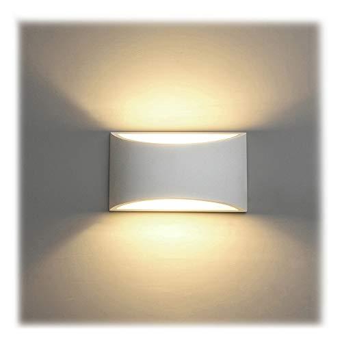 LED Wandleuchte Innen, 7W Weiß Gipsleuchte Modernes Design Wandlampe LED Licht Up und Down Wandlicht Spotlicht Warmweiß für Badezimmer, Wohnzimmer, Schlafzimmer, Flur (G9 LED Birne enthalten) - Keramik-bad-wandleuchte