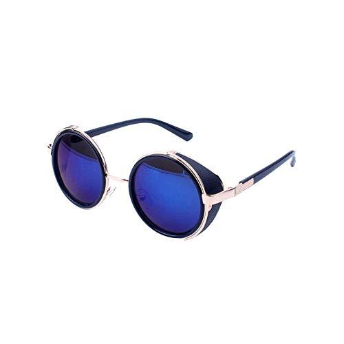 Ogquaton Retro Steampunk Style Sonnenbrille Round Metal Circle Polarisierte Sonnenbrille Vintage Small Mirror Glasses UV-Schutzbrille für Frauen Light Golden Frame Blue Lens Langlebig und praktisch