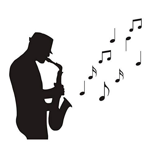 Wandtattoo Aufkleber Wohnzimmer Garderobe Flur Fenster Wohnung Kinderzimmer Badezimmer Saxophon Spielen 58X83Cm (Wohnungen Saxophon)