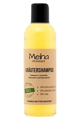 Meina – Shampoo mit Teebaum Rosmarin und Lavendel (1 x 220 ml) vegan Bio Shampoo mit Bio Mandelöl und Bio Kokosöl, ohne Silikone, Sulfate und Parabene, für Männer und Frauen – Naturkosmetik