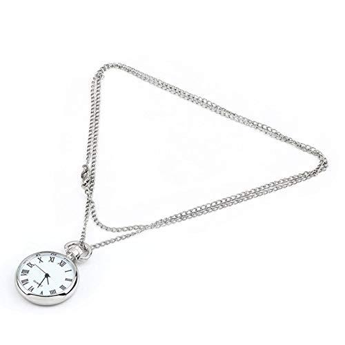 es Zifferblatt Quarz Runde Taschenuhr Halskette Silberkette Anhänger Splitter ()