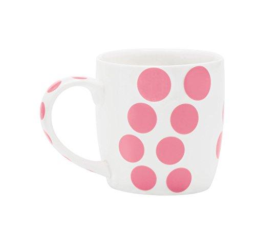 Zak Designs 2179-1590 Mug en Porcelaine 35cl-Blanc/Dot Rose, Châtaigne
